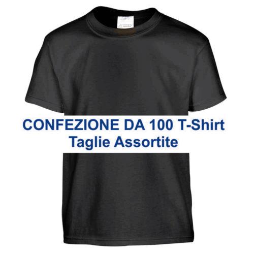 confezione 100 t-shirt uomo nere